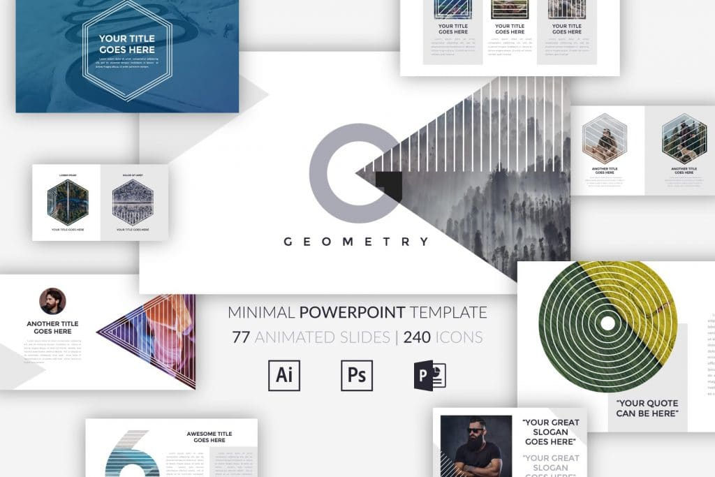 Minimal Geometry Powerpoint Template - $12 - cm cover