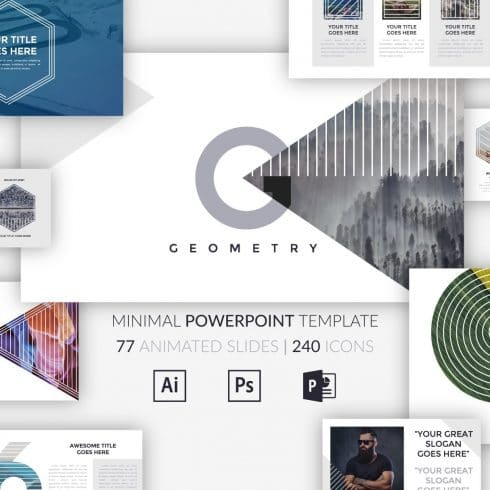 Minimal Geometry Powerpoint Template - $12 - cm cover 2 490x490