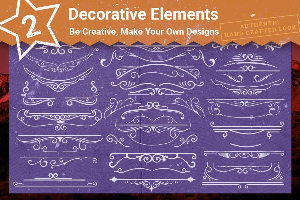 Decorative elements for images on t-shirts.