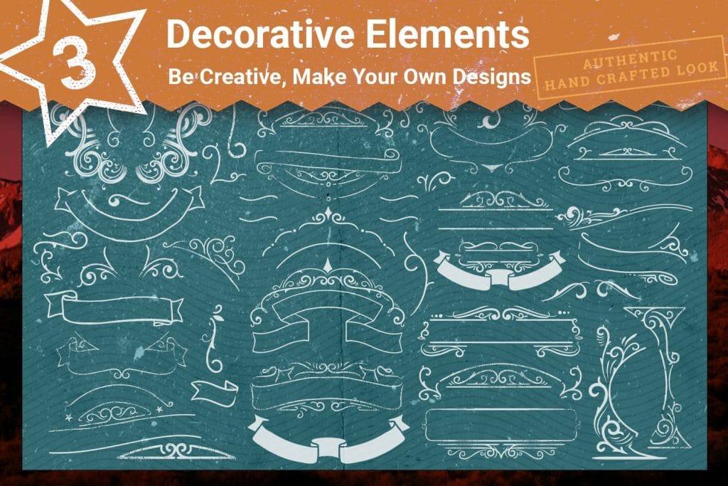 Decorative details for t-shirts design.