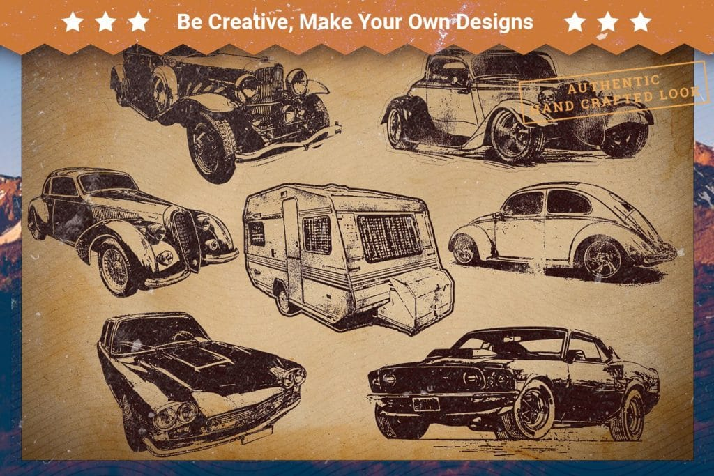 T-shirts with wild vintage cars.