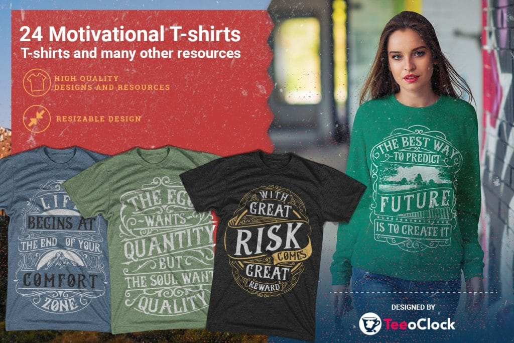 Motivational t-shirts in different colors.