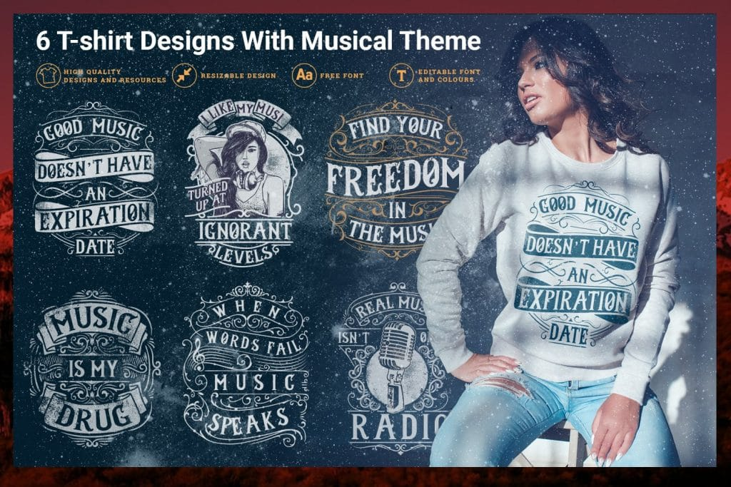 220+ Cute T-shirt Design Templates: Ideas & Mockups. Best T-Shirt Design Bundles in 2020 - music