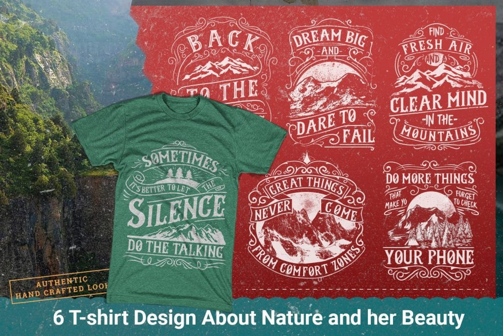 T-shirt designs about nature and beaty.