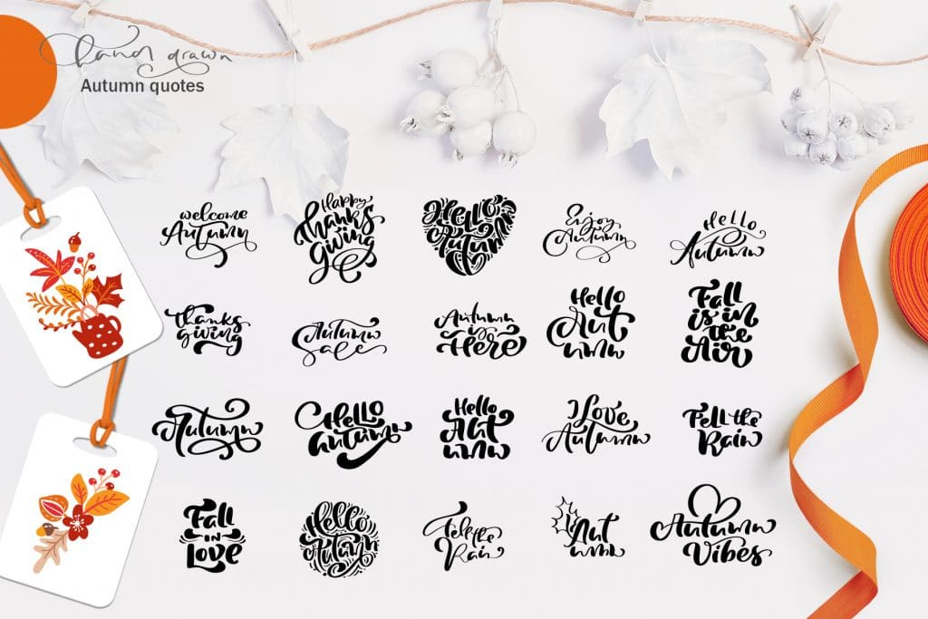 120+ Autumn Leaves Clipart and Flower Elements. Autumn Hand Lettering Bundle