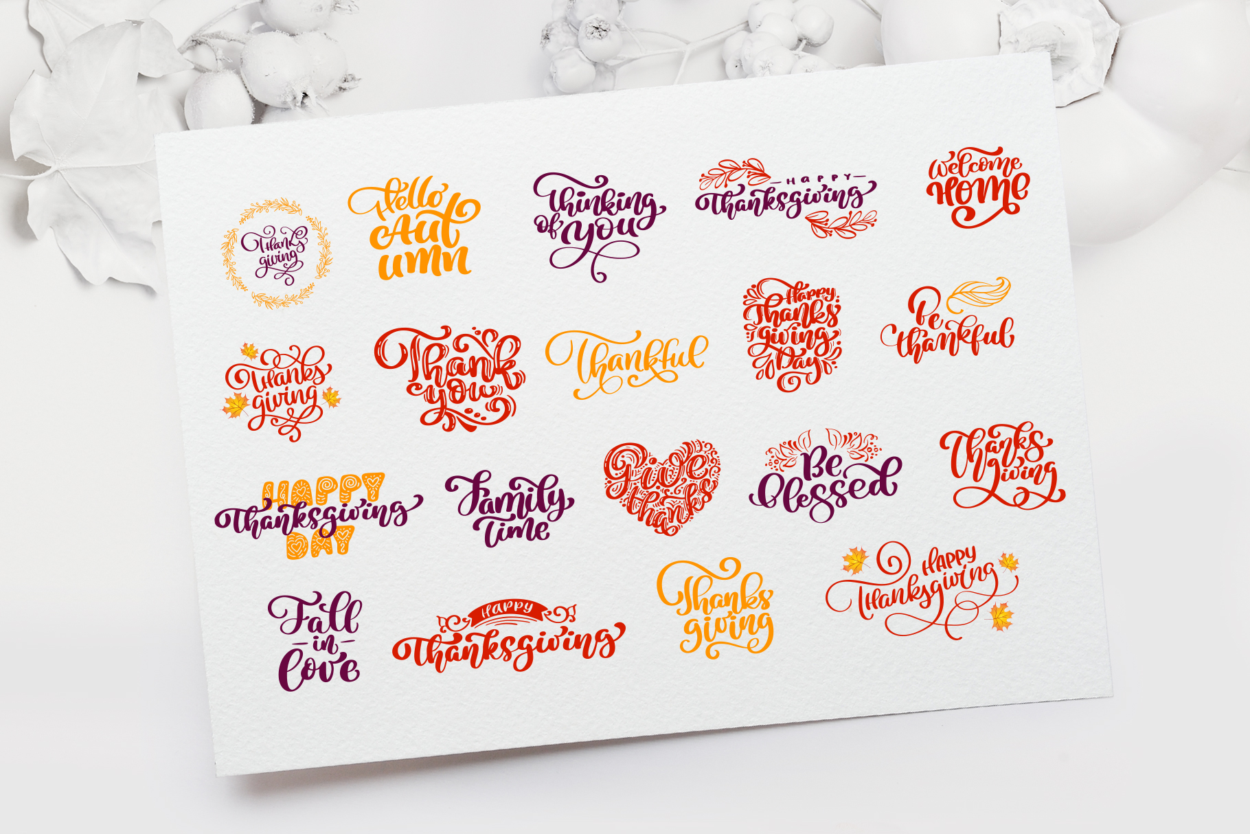 Thanksgiving Clipart Bundle: Happy Thanksgiving Vector Pack