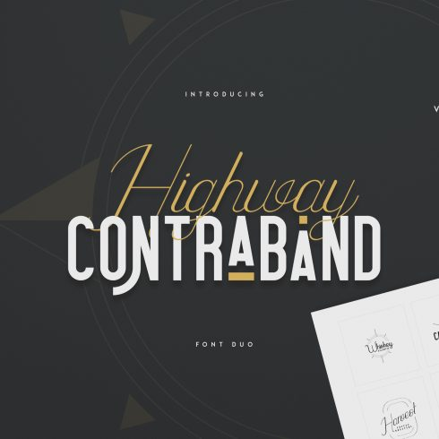 Highway Contraband Bundle: Font Duo + 20 Logo Templates + 44 Vector Elements - 600 3 490x490