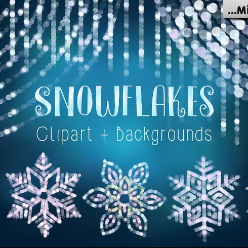 Snowflakes Clipart & Backgrounds ( 66 items) - $9 - 600 4 490x490