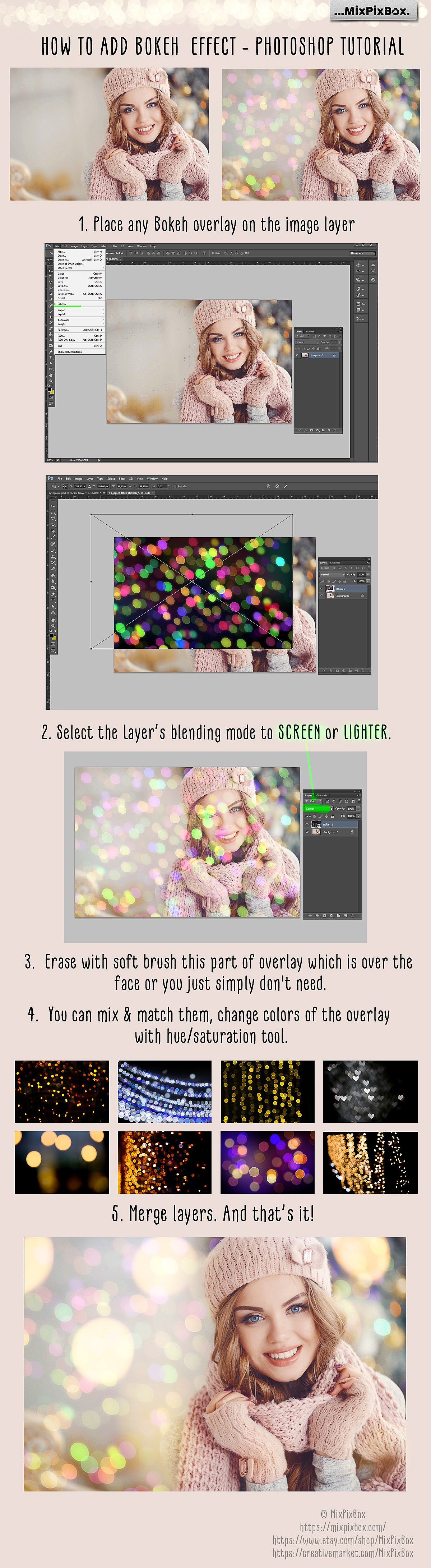 100 Bokeh Photo Overlays - $9 - 8 2