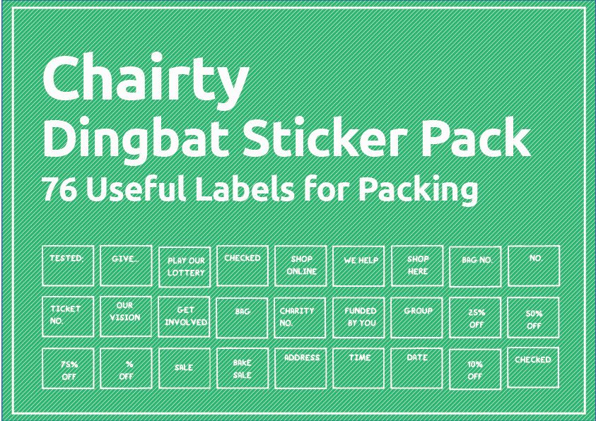 33 Useful Arts Crafts Dingbat Shape Pack - $29 - chairty stickers 02