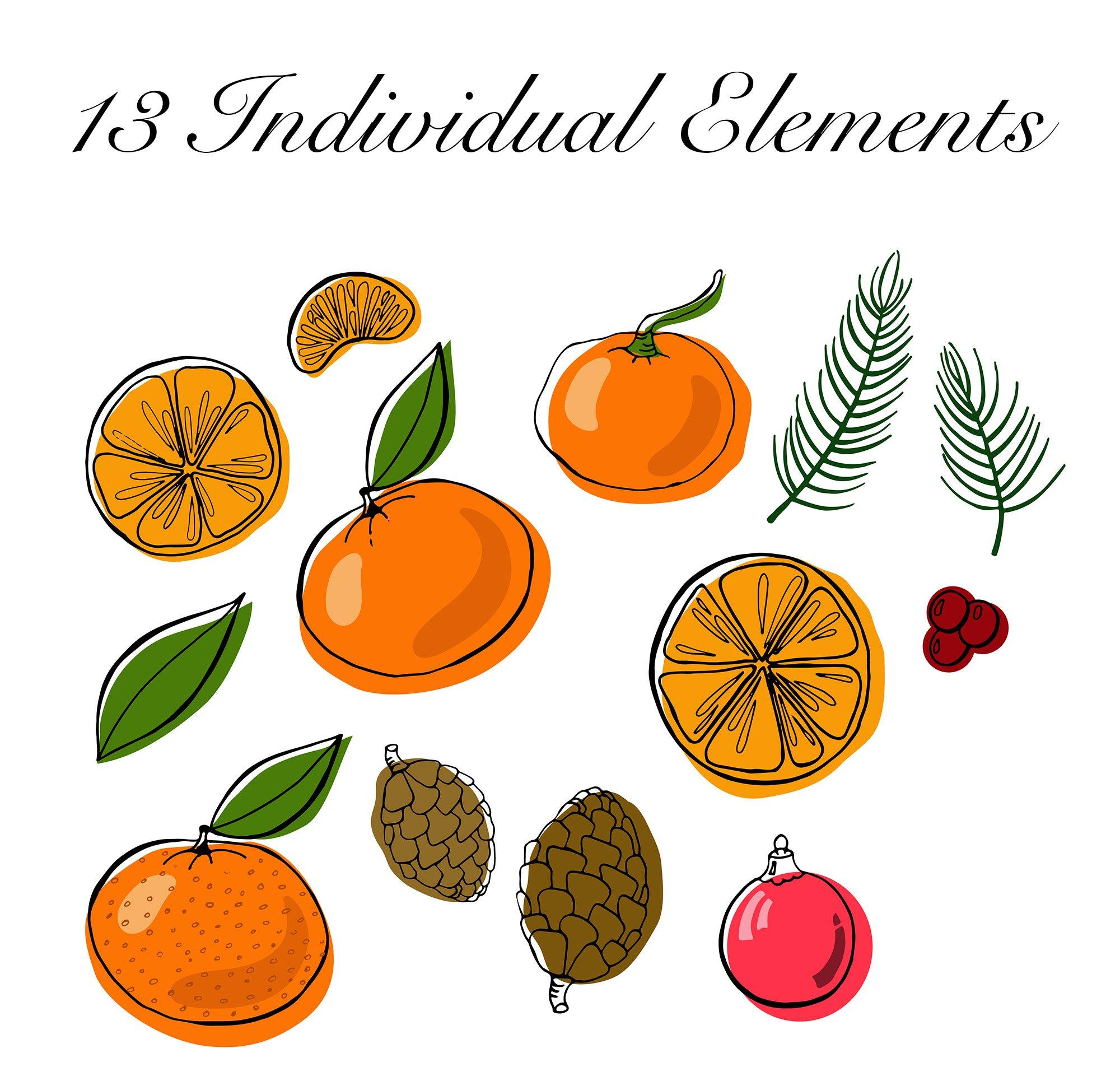 Christmas Clipart: Tangerines Vectors