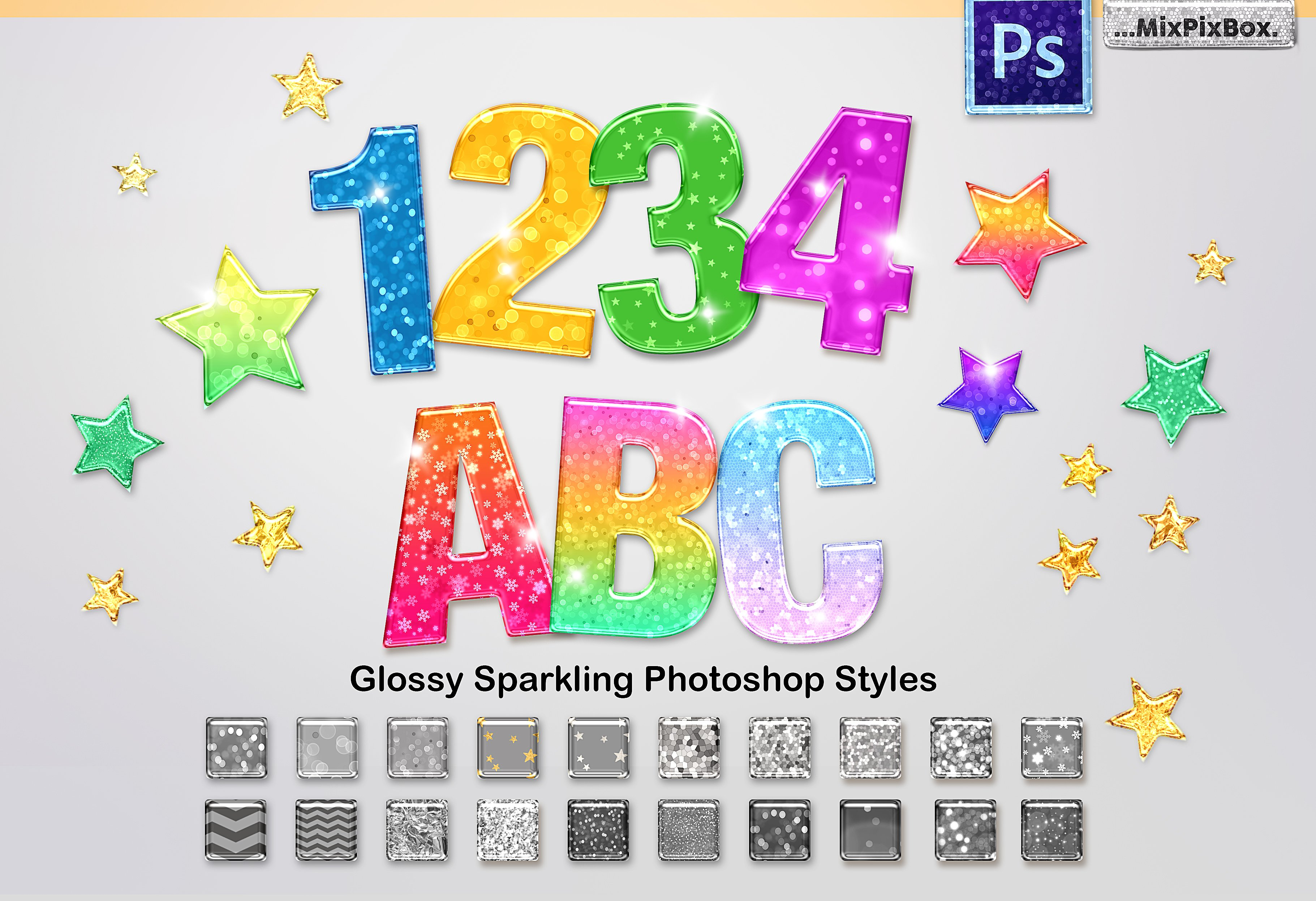 44 Sparkling Glossy Layer Styles for PS