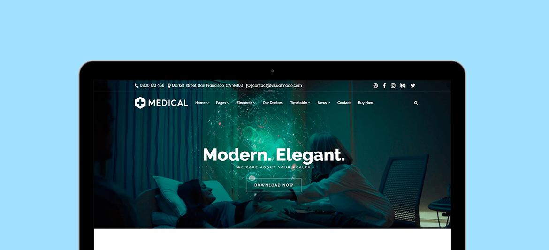 Medical WordPress Theme - $25 - macbook screen 1170x650