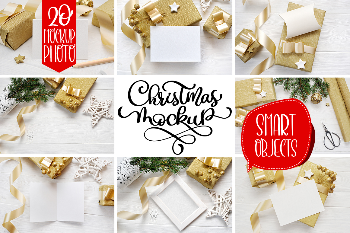 35 Christmas Background Mock Ups with smart object - $16 - title 01