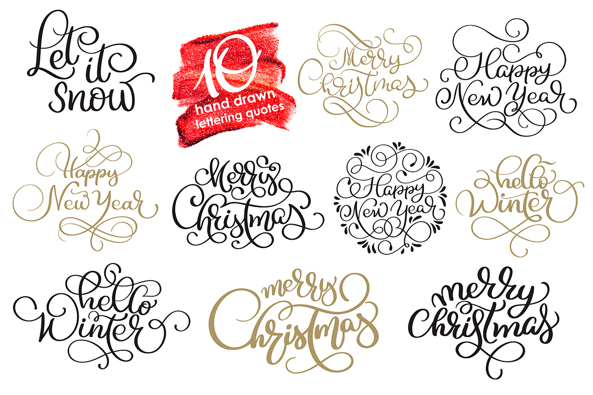 Merry White Christmas Quotes Images and Objects Calligraphy Collection - $3 - title 6 2