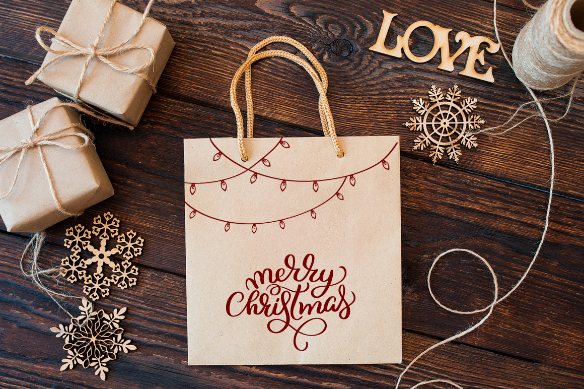 Merry White Christmas Quotes Images and Objects Calligraphy Collection - $3 - title 9