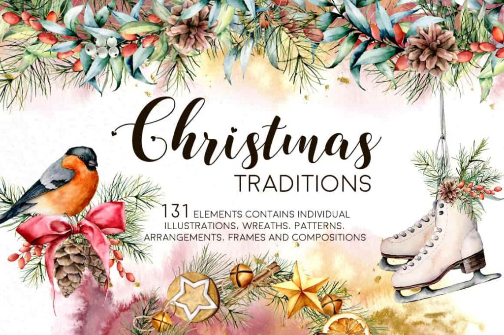 Christmas Traditions Watercolor Set - $16 - 01 min