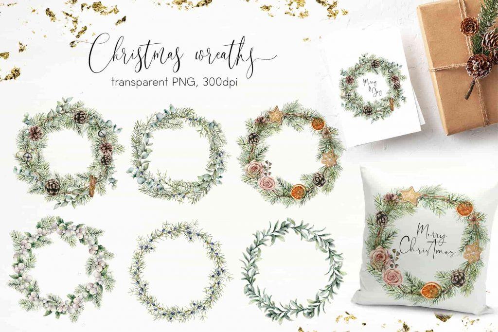 Vintage Christmas Watercolor Bundle - $16 - 07 min 1