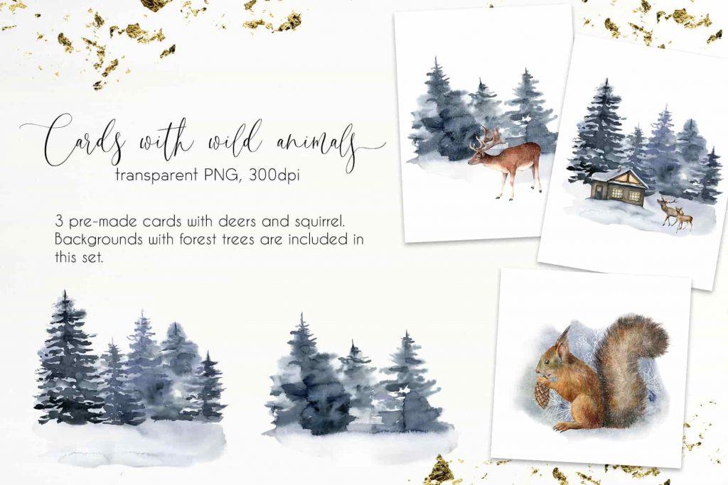 Vintage Christmas Watercolor Bundle - $16 - 11 min 2