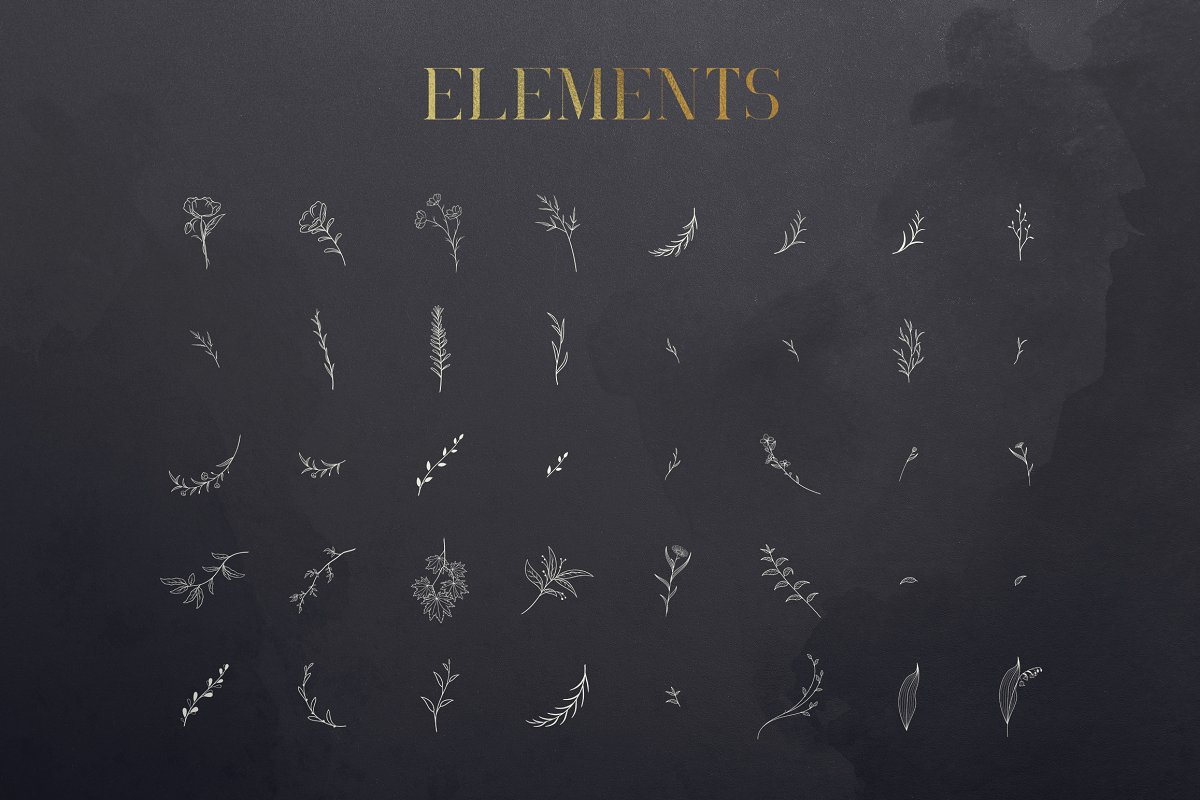 Black Gold Bundle: Serif Font, Elements, Ornaments, Photoshop Styles - $19 - 14