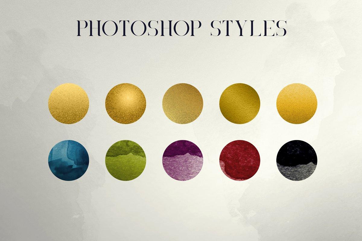 Black Gold Bundle: Serif Font, Elements, Ornaments, Photoshop Styles - $19 - 16