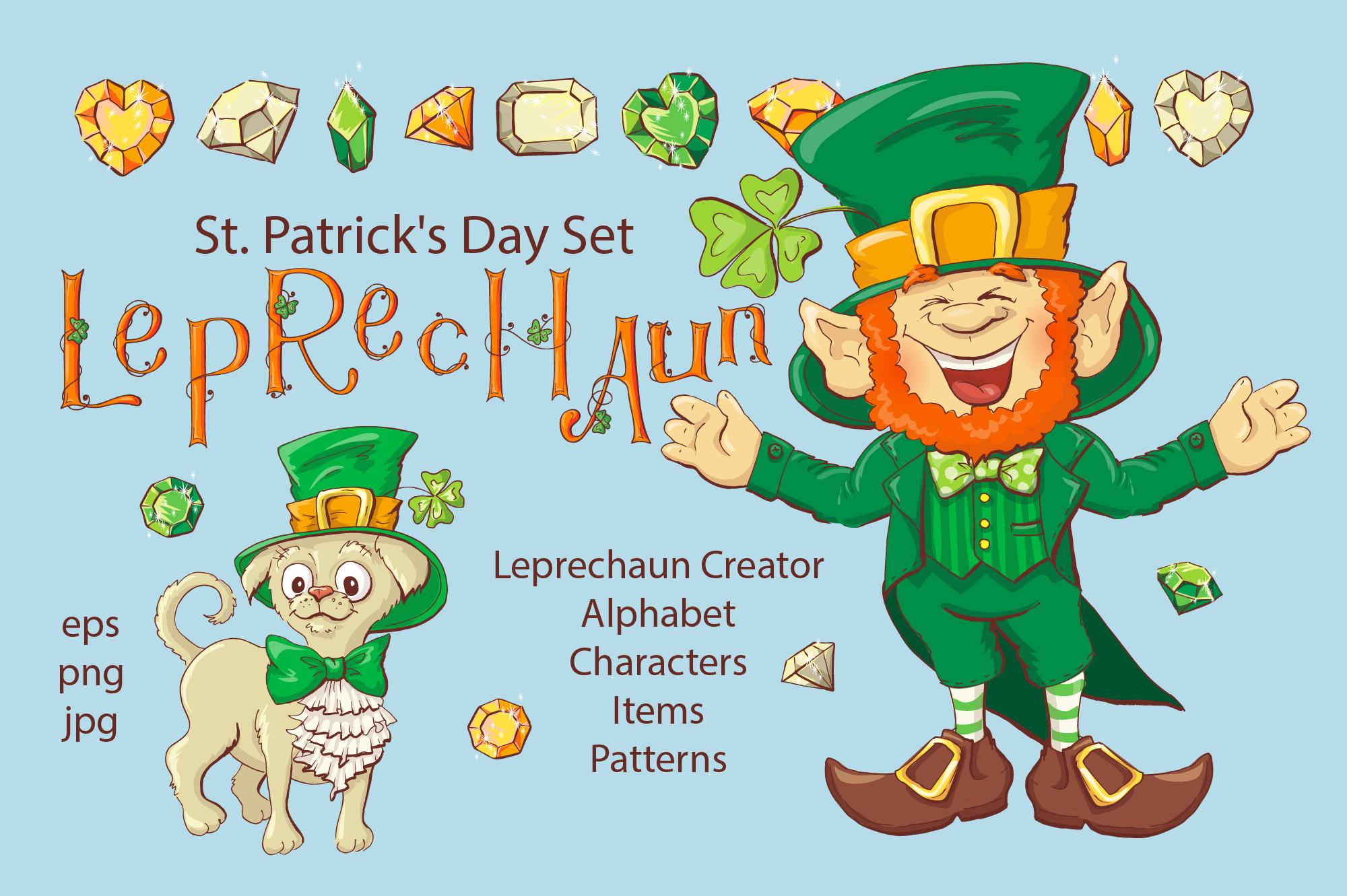 Leprechaun St. Patrick's Day Illustrations Set - $21 - 1 titul