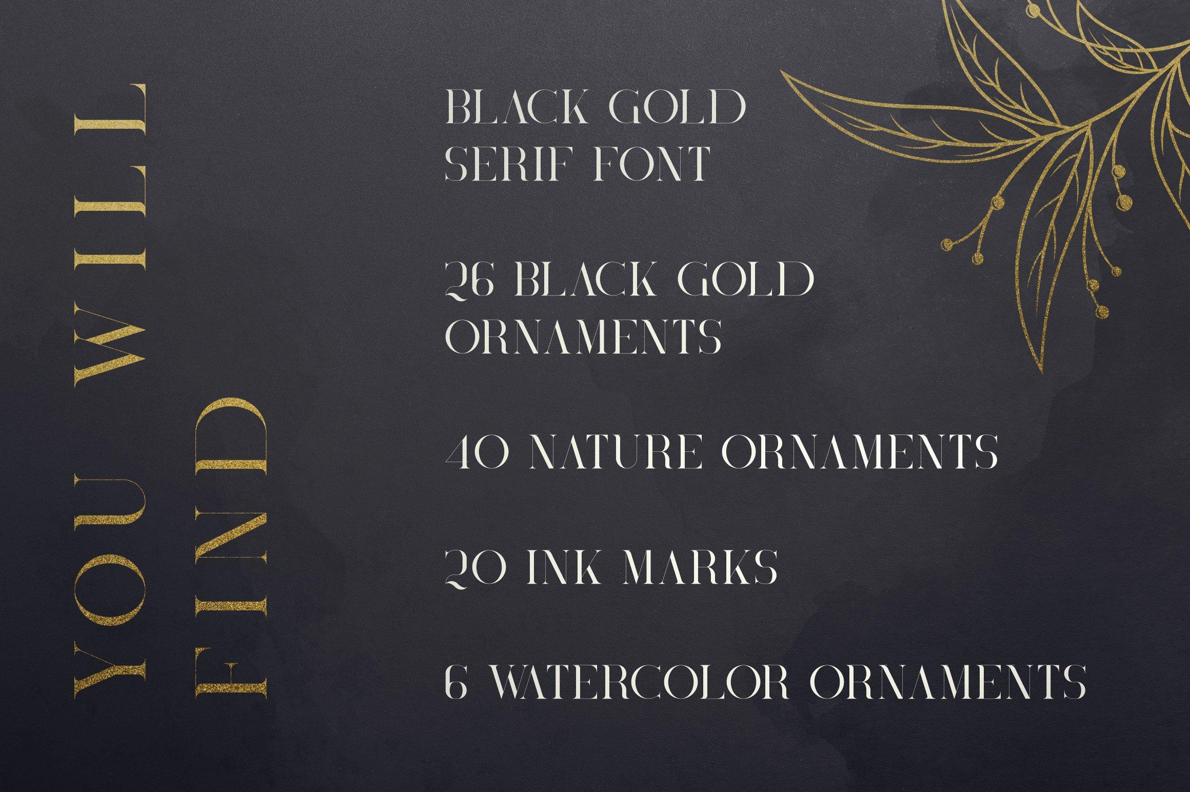 Black Gold Bundle: Serif Font, Elements, Ornaments, Photoshop Styles - $19 - 2