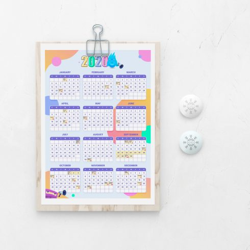 Free Holiday Wall Calendar Template for 2020 - 3083185 490x490
