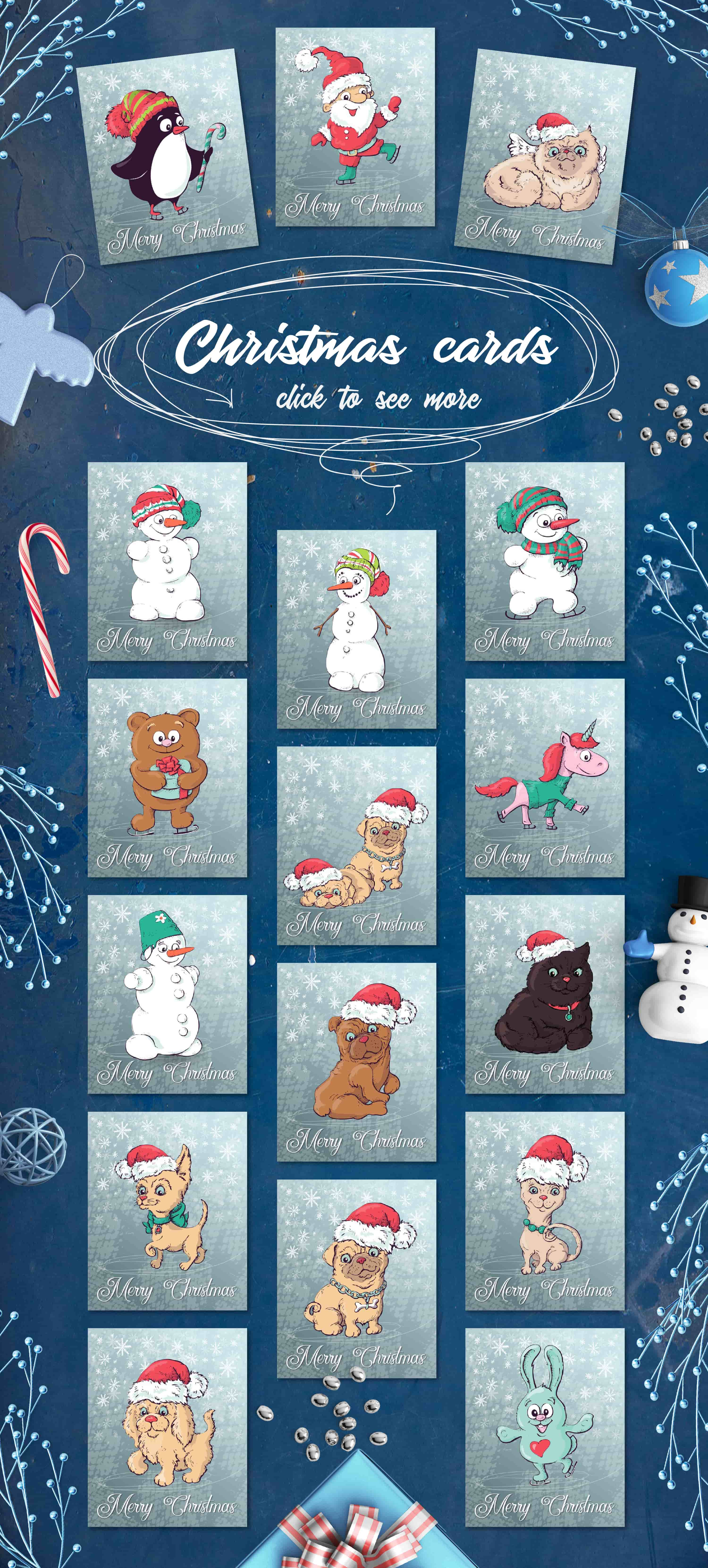 Merry Christmas Images: patterns, cards and items - 3 cards min