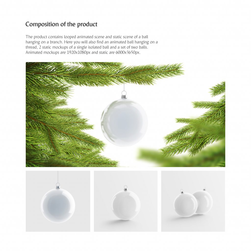 Christmas Ball Animated Mockups Set - $12 - 4 11