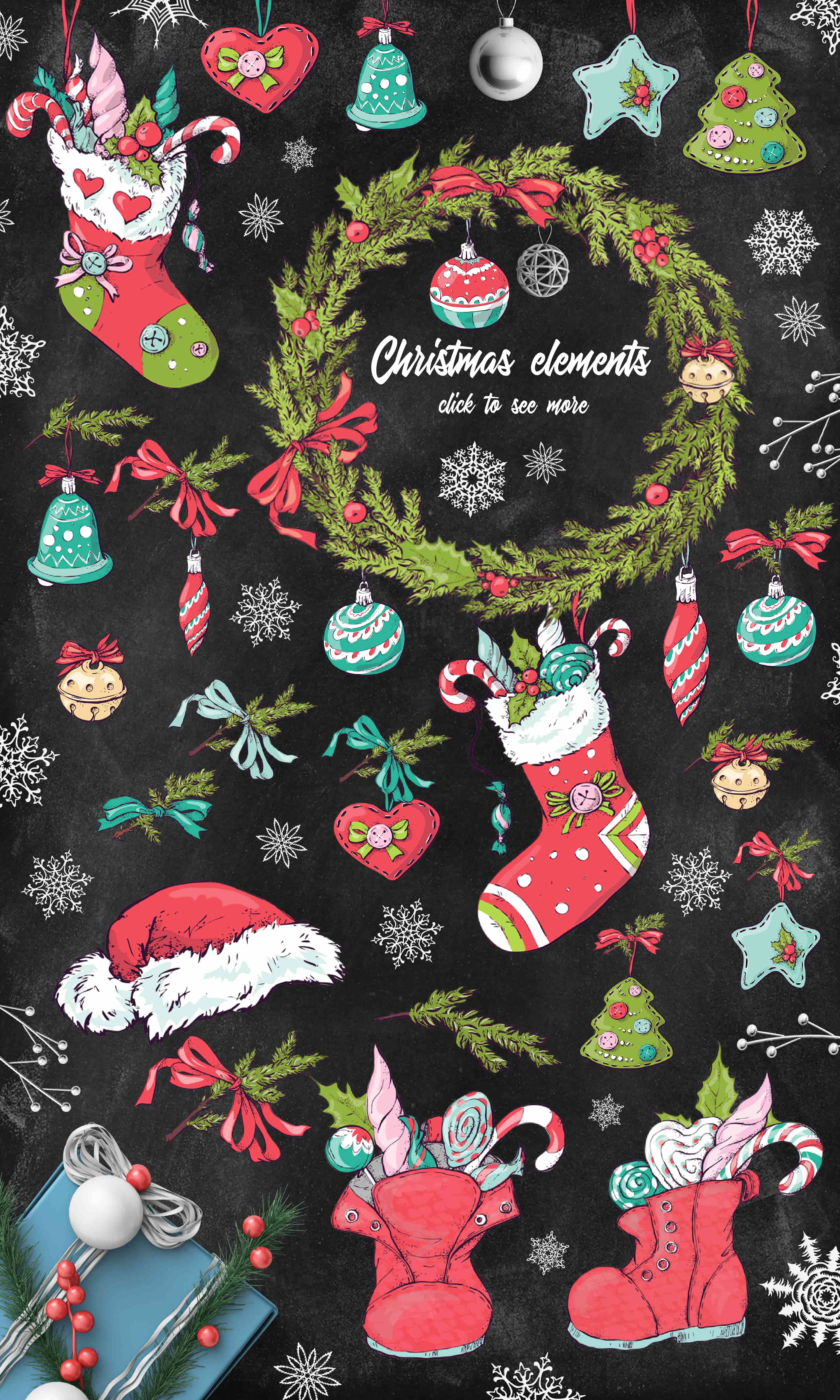 Merry Christmas Images: patterns, cards and items - 5 items min