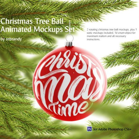 Christmas Ball Animated Mockups Set - $12 - 600 20 490x490