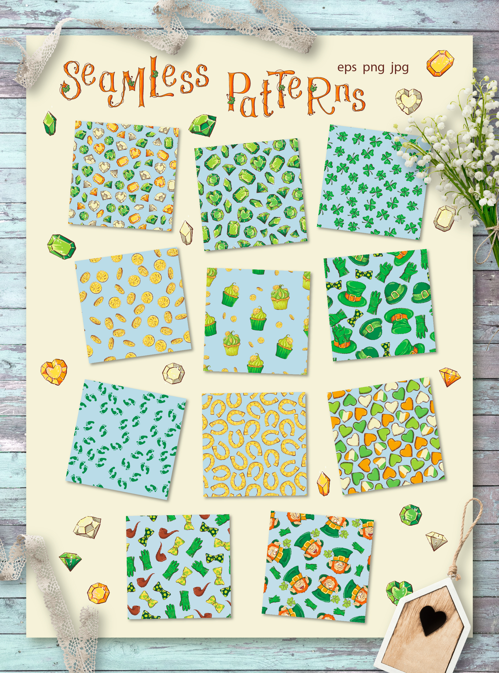 Leprechaun St. Patrick's Day Illustrations Set - $21 - 6 patterns