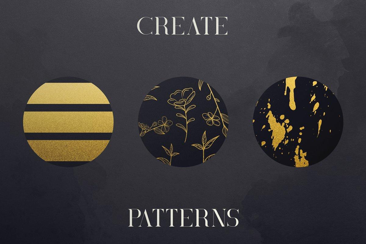 Black Gold Bundle: Serif Font, Elements, Ornaments, Photoshop Styles - $19 - 8 1 1