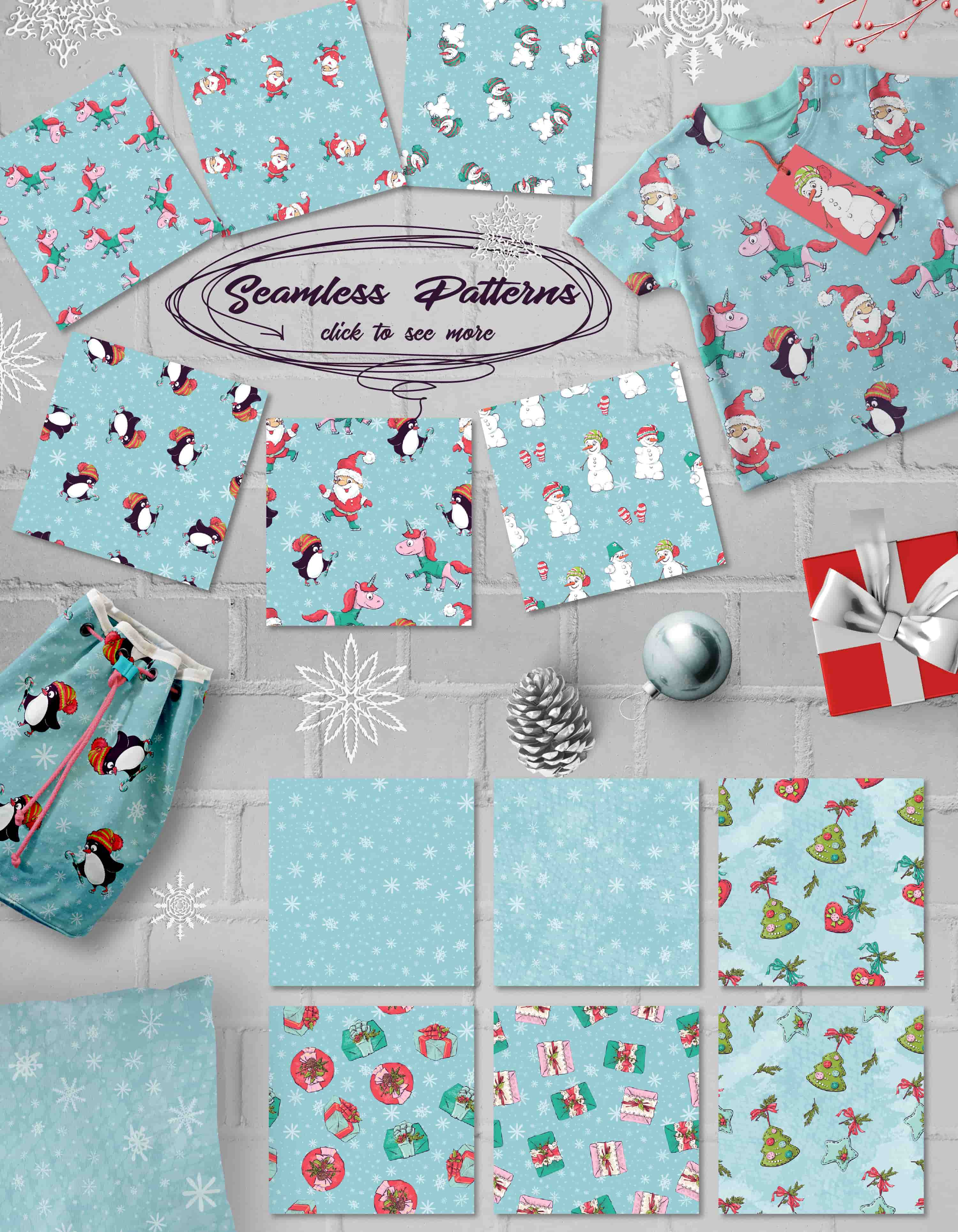 Merry Christmas Images: patterns, cards and items - 8 patterns min