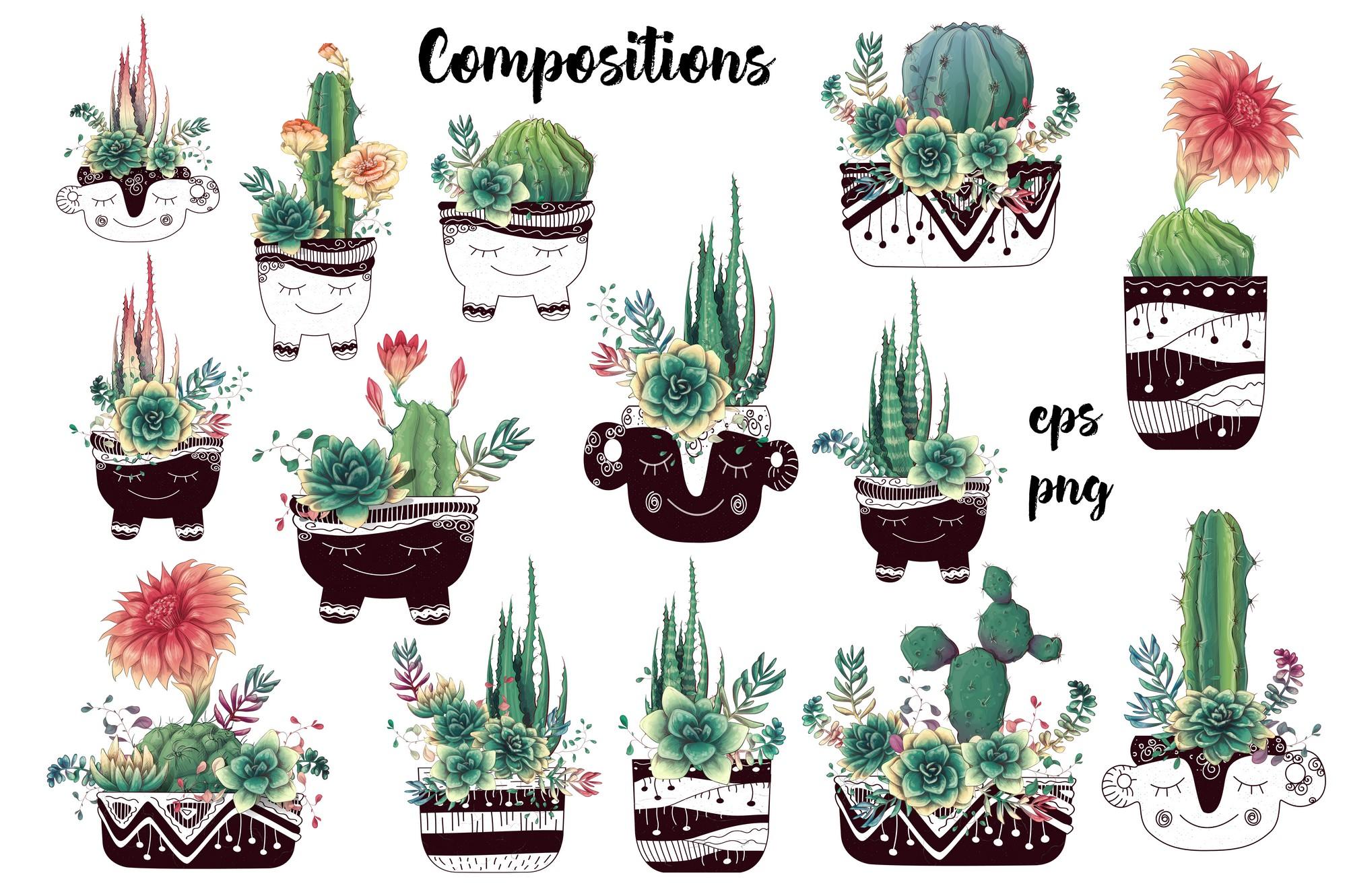 Cute Cactus Clipart: Cacti & Succulents Vectors - Image00004 1