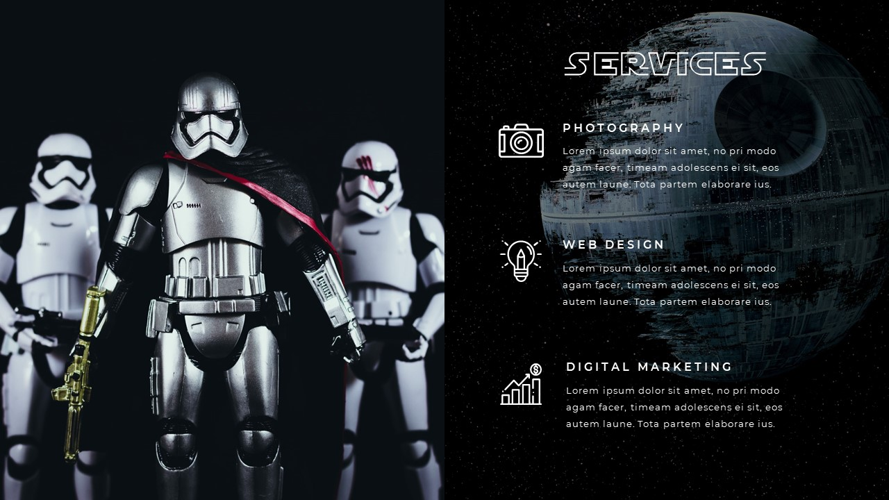 Stormtroopers photo on the right, icons and text blocks on the left.