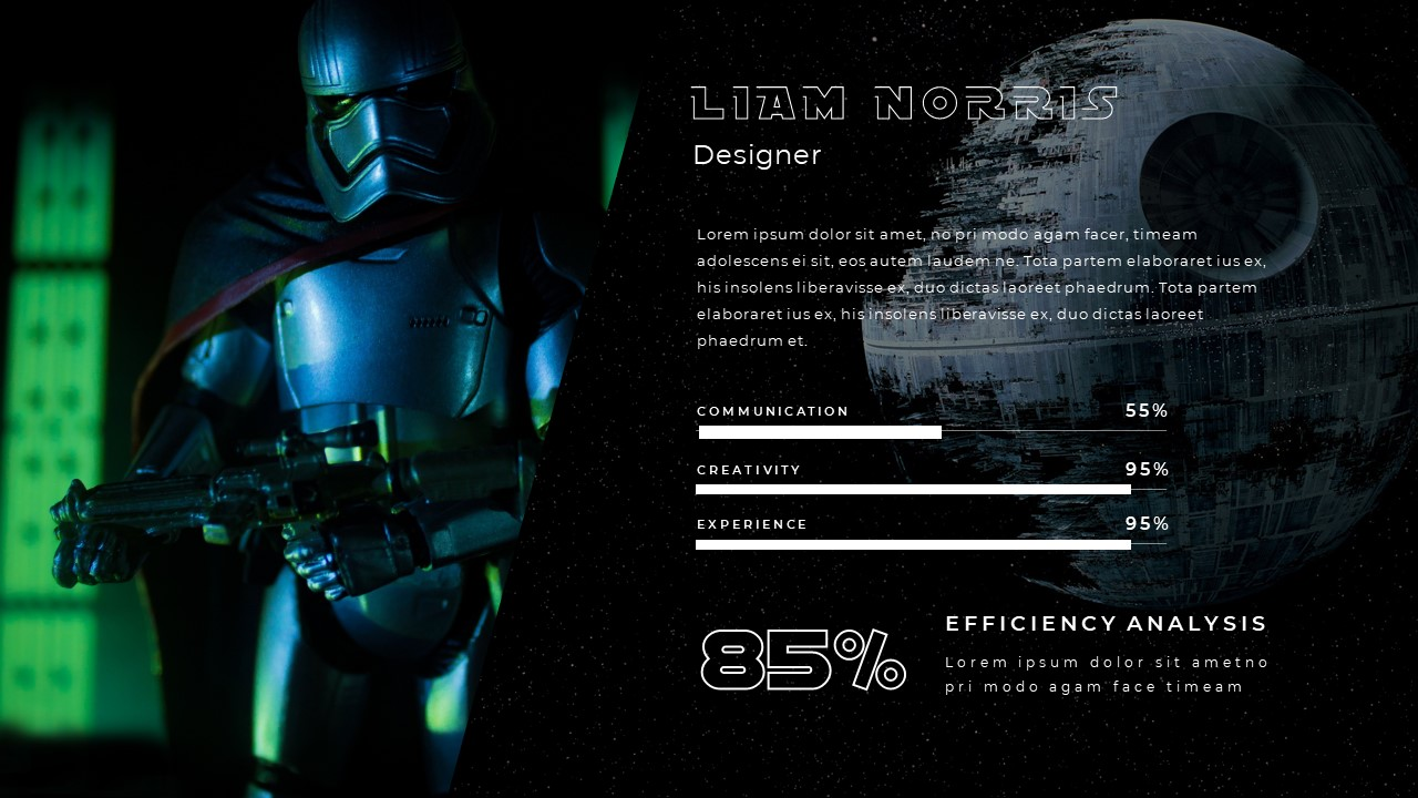 Large image of Stormtrooper on the left, and a text block with a scale on the right.