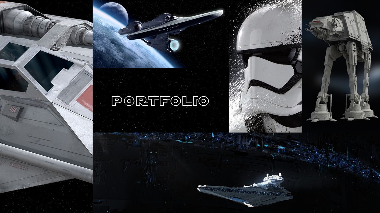 Slide with Stormtrooper images, spacecraft, and all-terrain AT-AT.