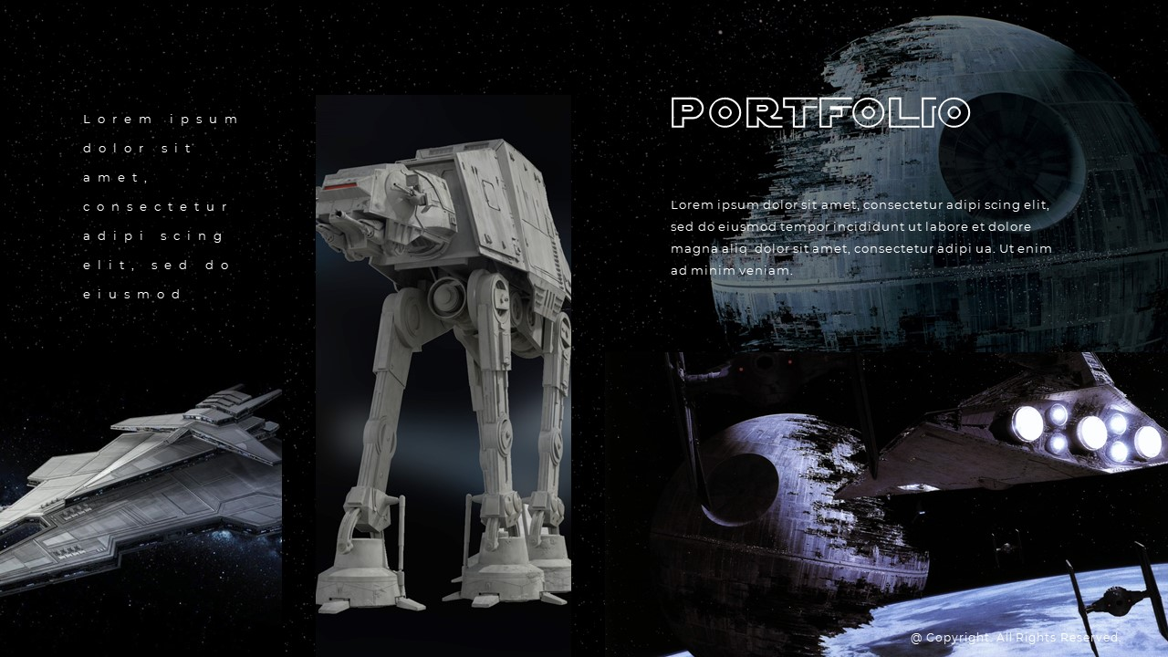 In the middle is a huge image of Star Wars AT-AT, spacecraft, and 2 text blocks on the sides.