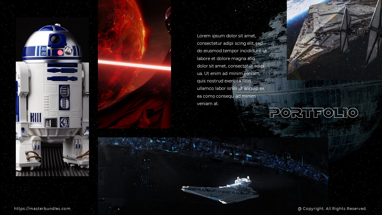 Slide with 4 space object images, lightsaber and R2-D2, and between them is a text box.