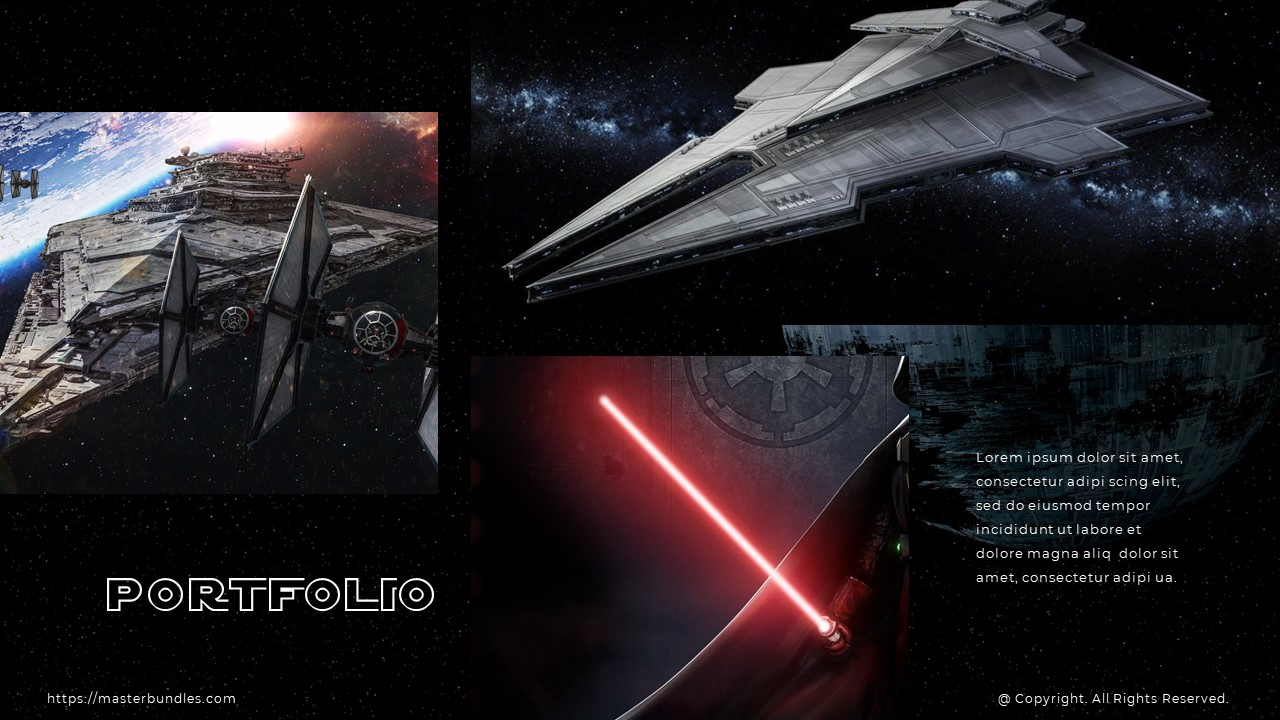 Large spacecraft and Darth Vader's lightsaber images, and wide text block at the bottom right.
