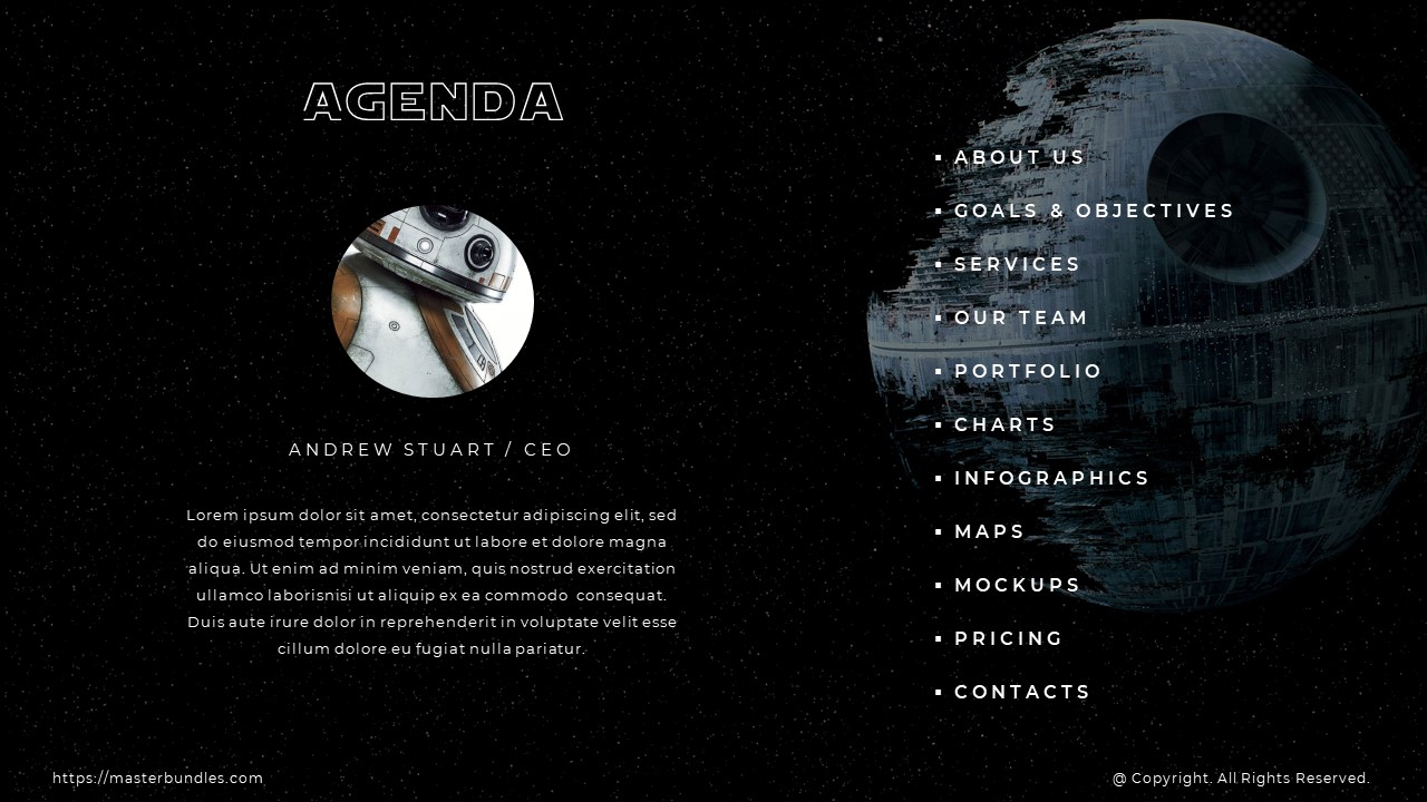 Pages list on the starry sky background with intergalactic object, icon and text on the left.
