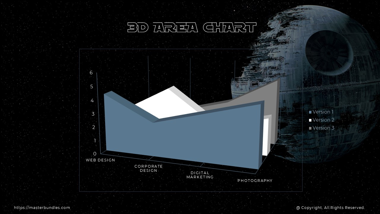 Unusual 3D diagram throughout the slide on a cosmic background.
