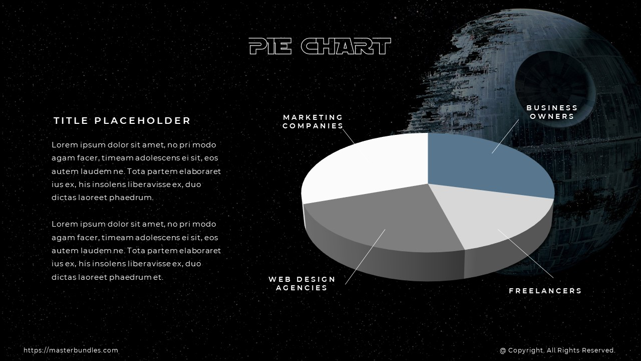Pie chart in white, gray and blue with title for each piece, and text block on the left.