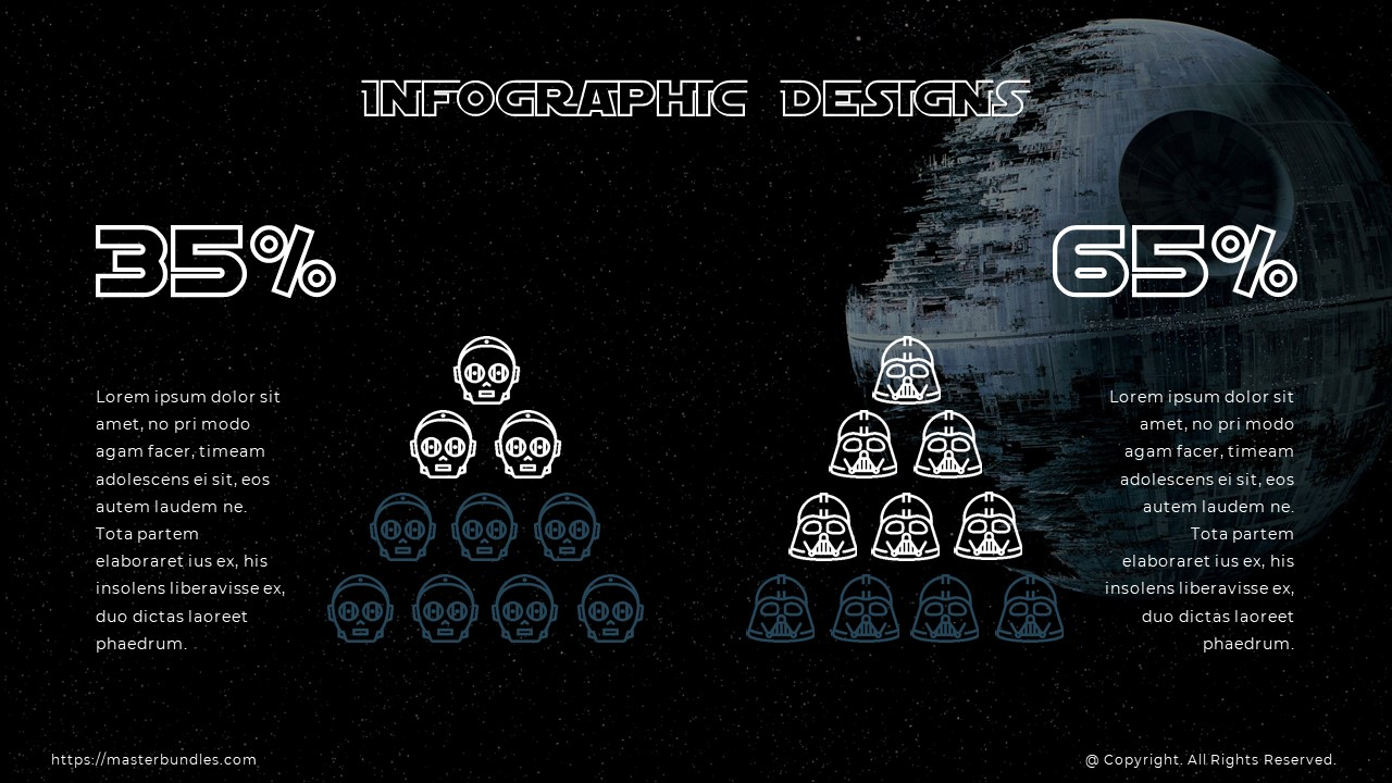 Slide with percentage rings, and triangle infographics with Darth Vader and Stormtrooper icons.