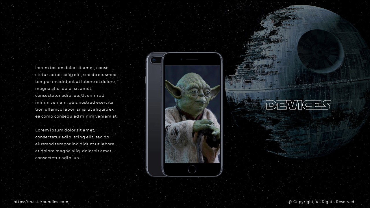 Slide with Yoda image in the middle, text block on the left, and the slide name on the right.