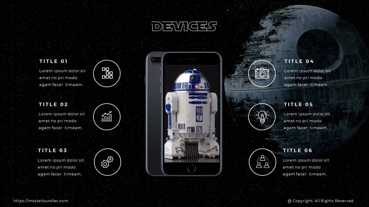 R2-D2 image in the middle, and thematic icons with text boxes on the sides.