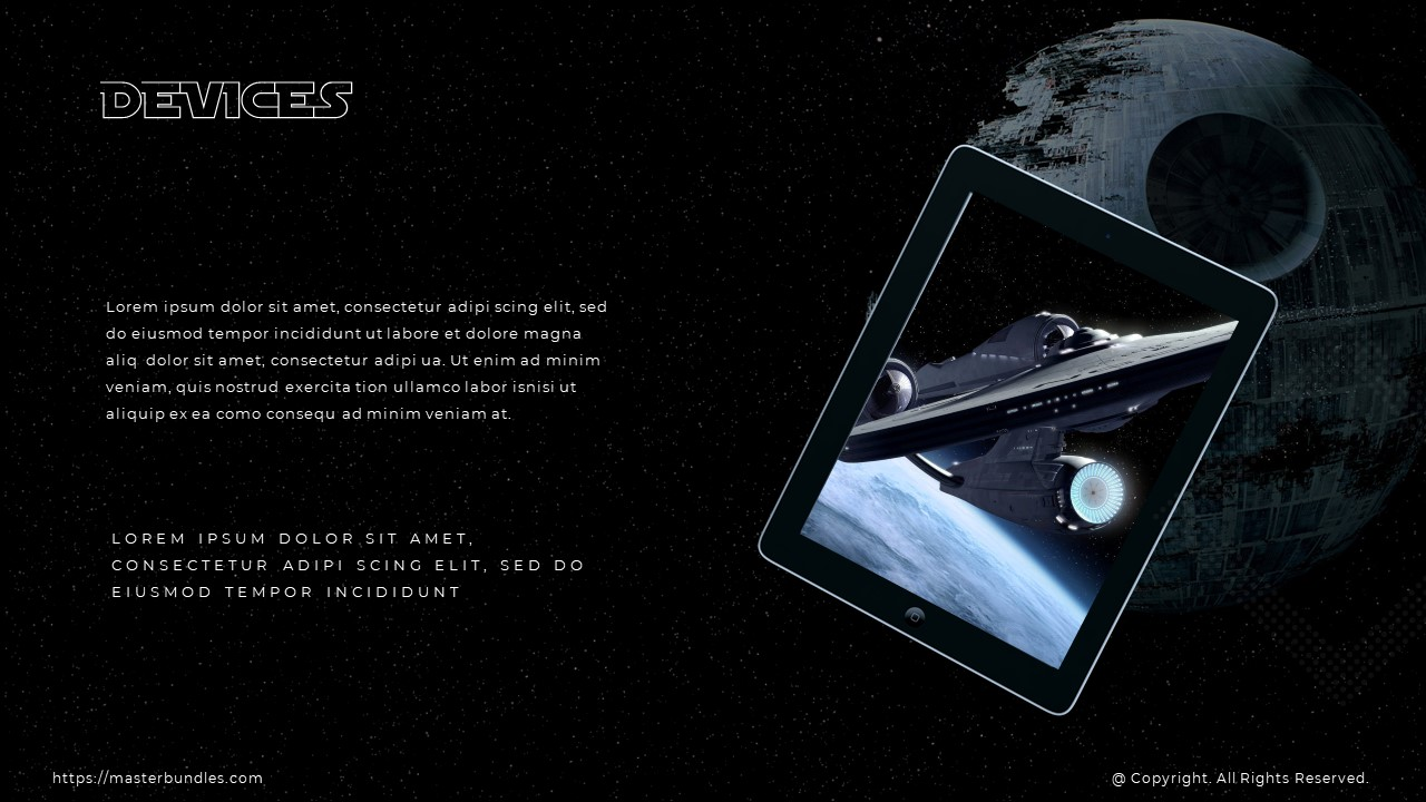 On the right is tablet with spaceship image, and on the left are 2 text blocks.