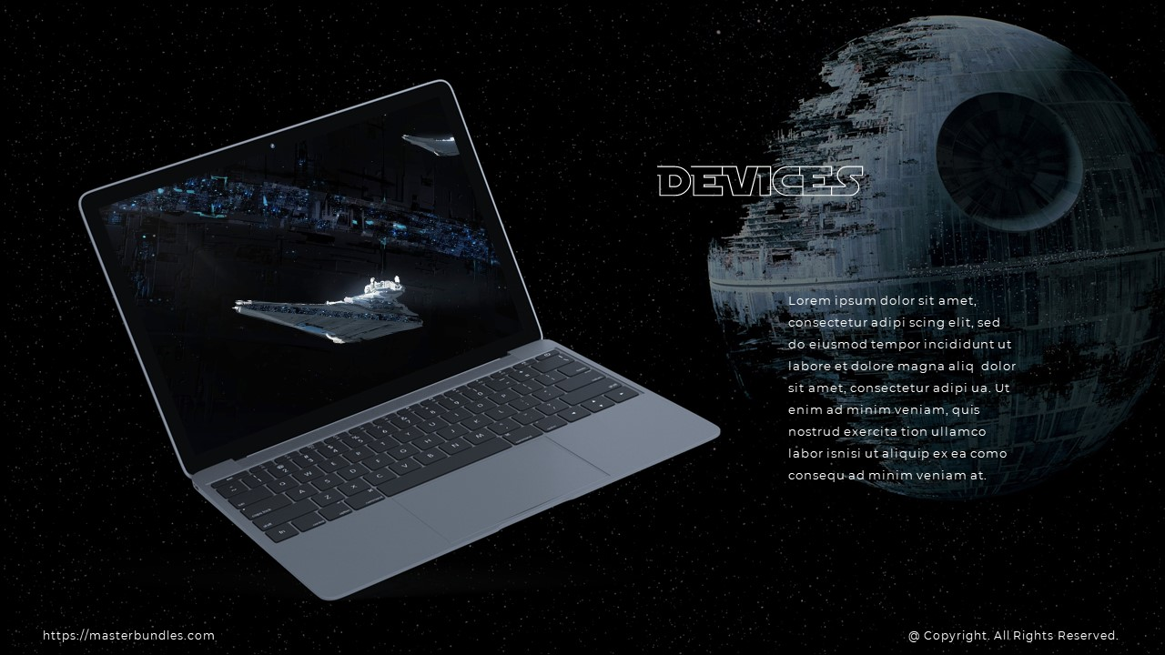Space object image on a laptop on the left, and a text block on the right.
